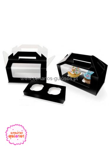 Caixa preta com janela 2 cupcakes