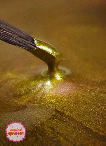 Tinta alimentar metálica Dourado Claro