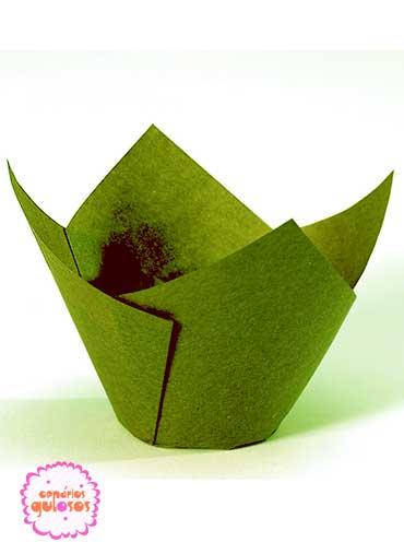 Tulipas Papel verde mini- conj. 50