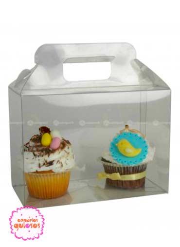 Caixa acetato com pega 2 cupcakes