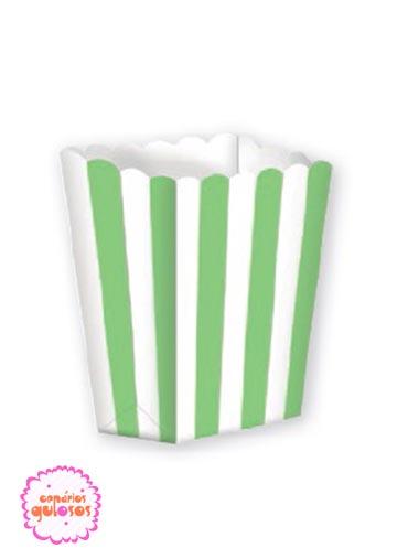 Caixa Pipocas Riscas Verdes