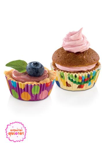 Formas Papel Mini cupcakes coloridas conj. 100