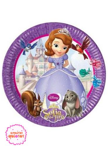 Pratos Princesa Sofia 20cm - 8 und