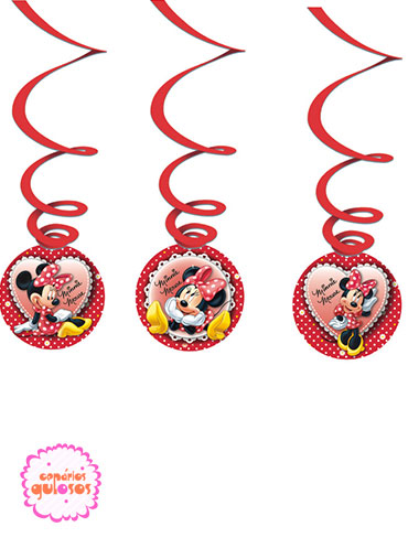 Serpentinas com pendentes Minnie - 3 und