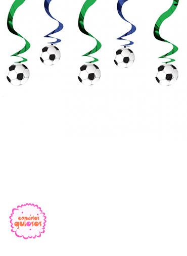 Serpentinas com pendentes de Futebol - 5 und