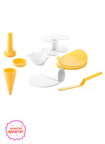 Conjunto para cones e taças de gelado