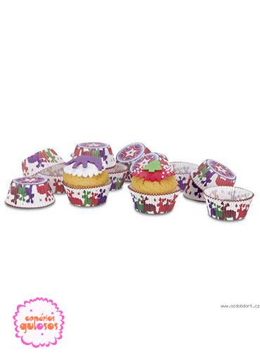 Formas Papel Cupcake Renas Natal - 50 unds
