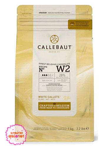 Pastilha Chocolate Puro Branco Callebaut 1kg