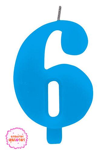 Vela Azul Turqueza 8cm Nr. 6