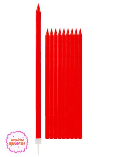 Velas Altas Vermelhas 15.5cm conj 10 unds