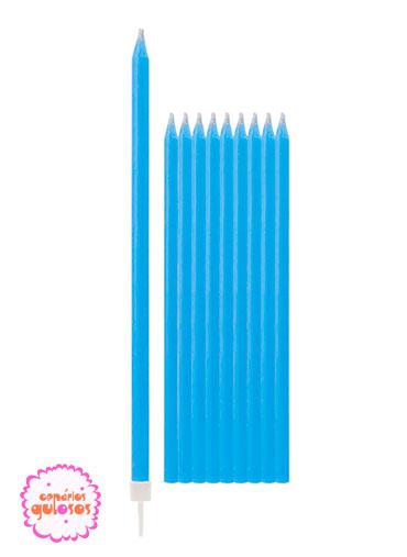Velas Altas Azul 15.5cm conj 10 unds