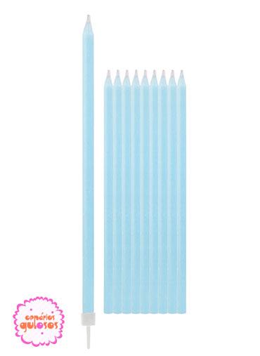 Velas Altas Azul Bébe 15.5cm conj 10 unds