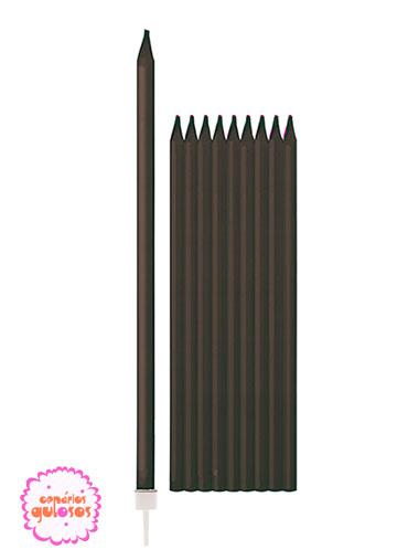 Velas Altas Pretas 15.5cm conj 10 unds