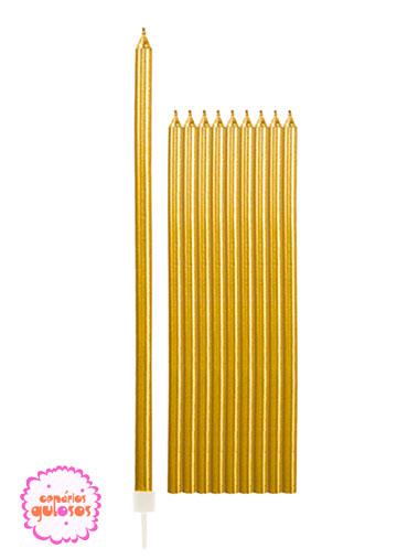Velas Altas Douradas 15.5cm conj 10 unds