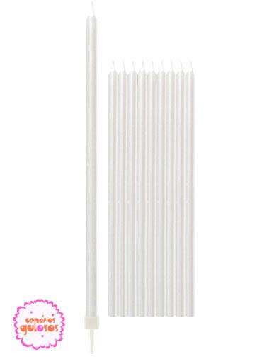 Velas Altas Brancas Peroladas 15.5cm conj 10 unds