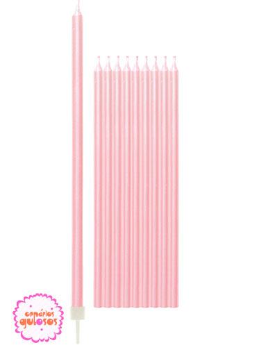 Velas Altas Rosa Peraladas 15.5cm conj 10 unds
