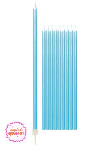Velas Altas Azul Peroladas 15.5cm conj 10 unds