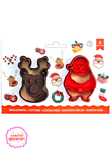 Cortantes Rena e Pai Natal Relevo