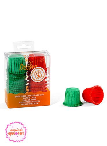 Mini formas papel vermelho e verde conj . 35