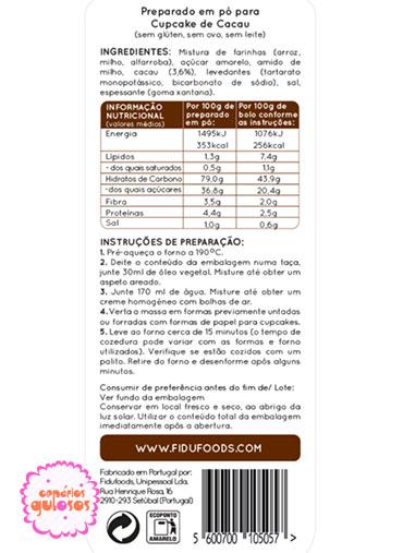 Bolo Chocolate S/ adição de açúcar 500gr