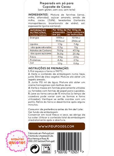 Queques/Cupcakes Chocolate Sem Glúten 250gr Fidu
